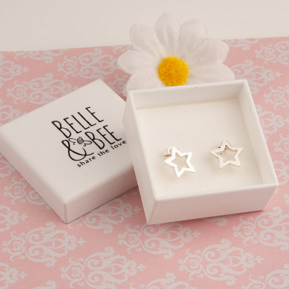 Open Star Silver Earrings