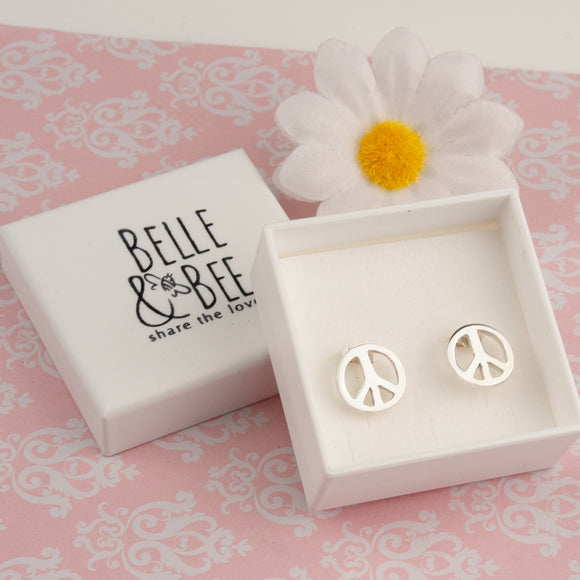 Peace Sign Silver Earrings