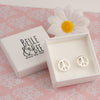 Belle & Bee sterling silver peace sign earrings
