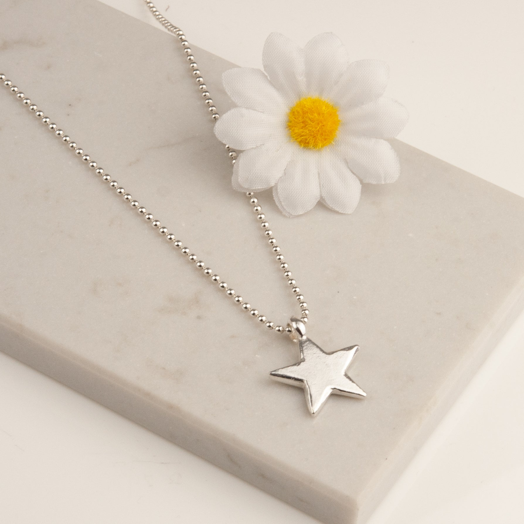 Belle and Bee Sterling Silver Ball Chain Necklace with Midi Chunky Star Charm