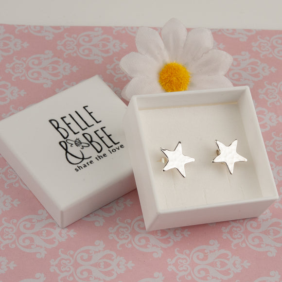 Hammered Star Silver Earrings