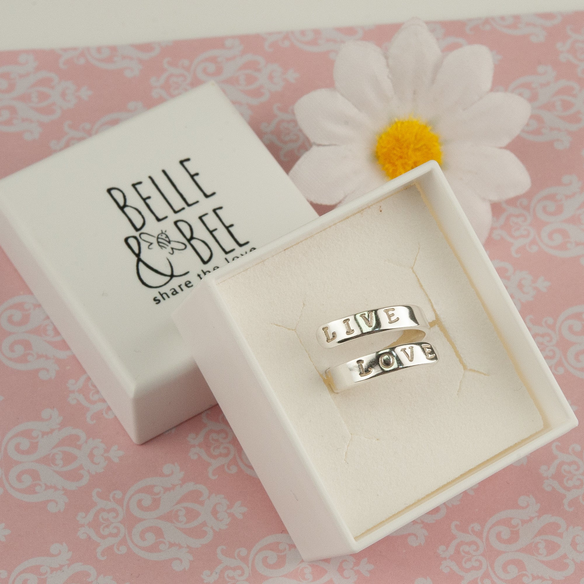 Belle & Bee personalised silver wrap ring