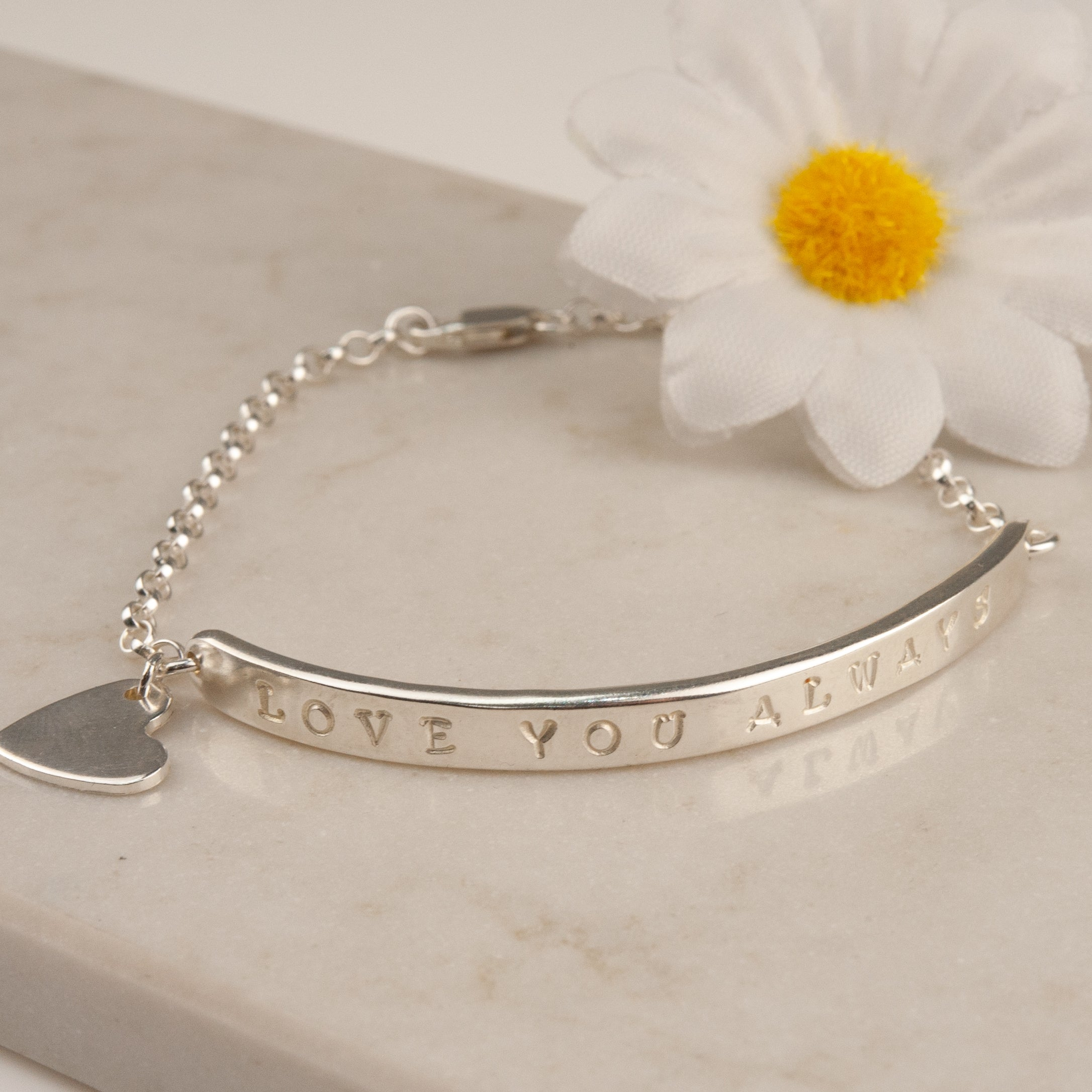 Belle and Bee Personalised Silver Bar Bracelet