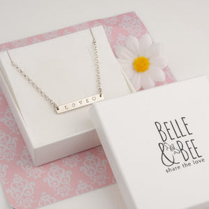 Belle and Bee Personalised Silver Bar Necklace