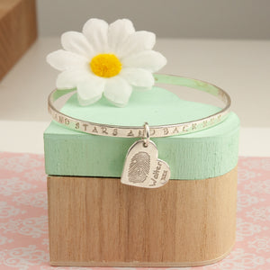 Personalised Silver Message Bangle with fingerprint charm