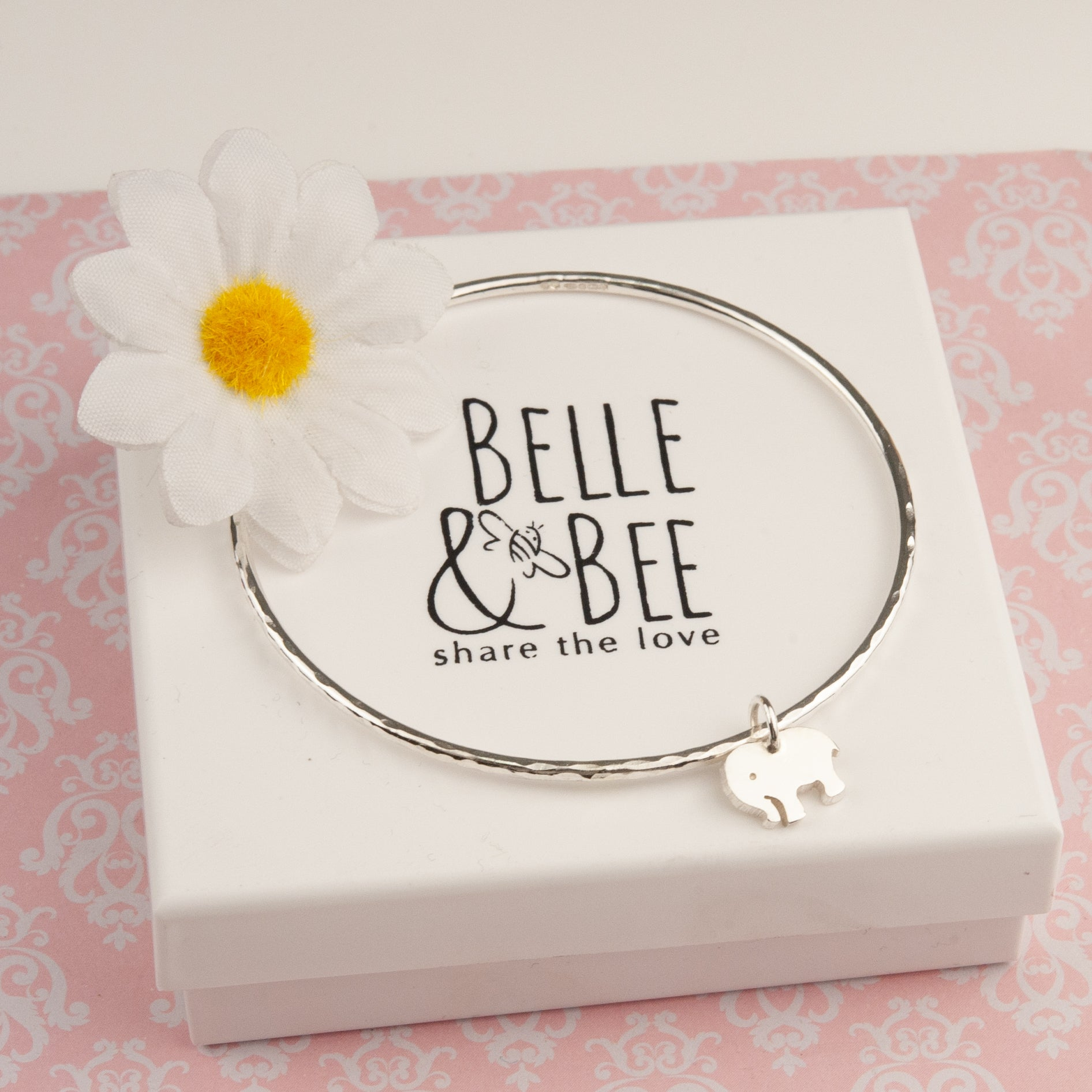 Belle & Bee sterling silver elephant bangle
