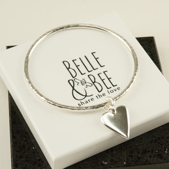 Belle & Bee Maxi Sterling Silver bangle with Midi Chunky Heart Charm