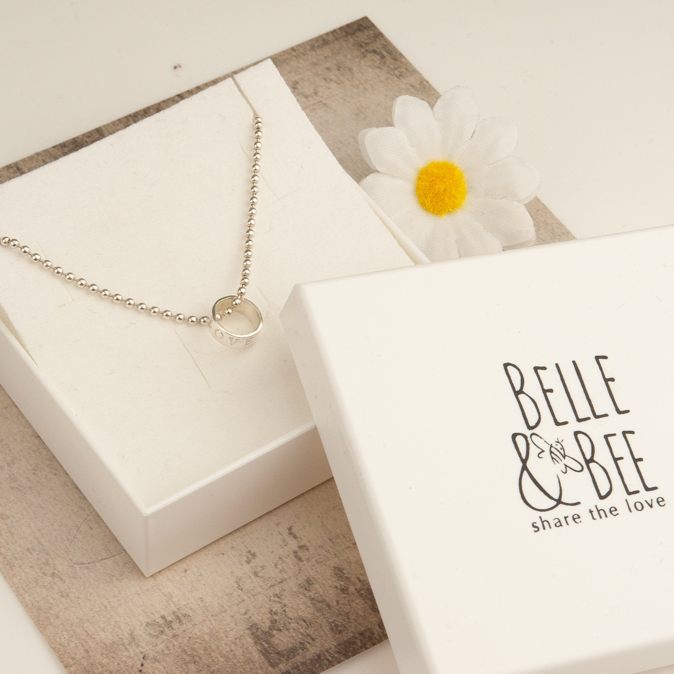 Sterling Silver Ball Chain Necklace  with Personalised Love Loop