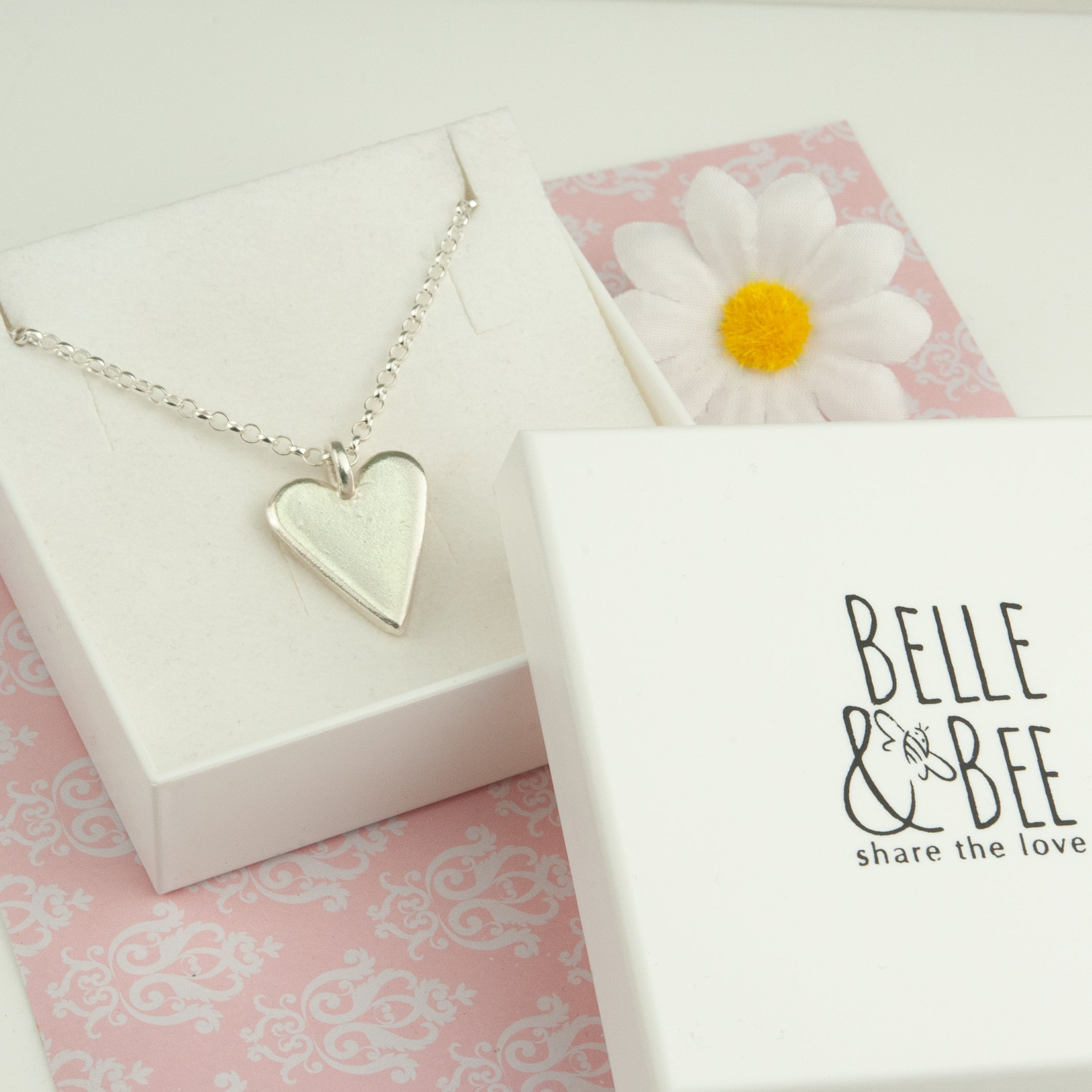Belle and Bee Sterling Silver Belcher Chain Necklace with Maxi Chunky Heart Charm