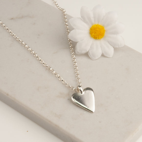 Belle and Bee Sterling Silver Ball Chain Midi Chunky Heart Necklace