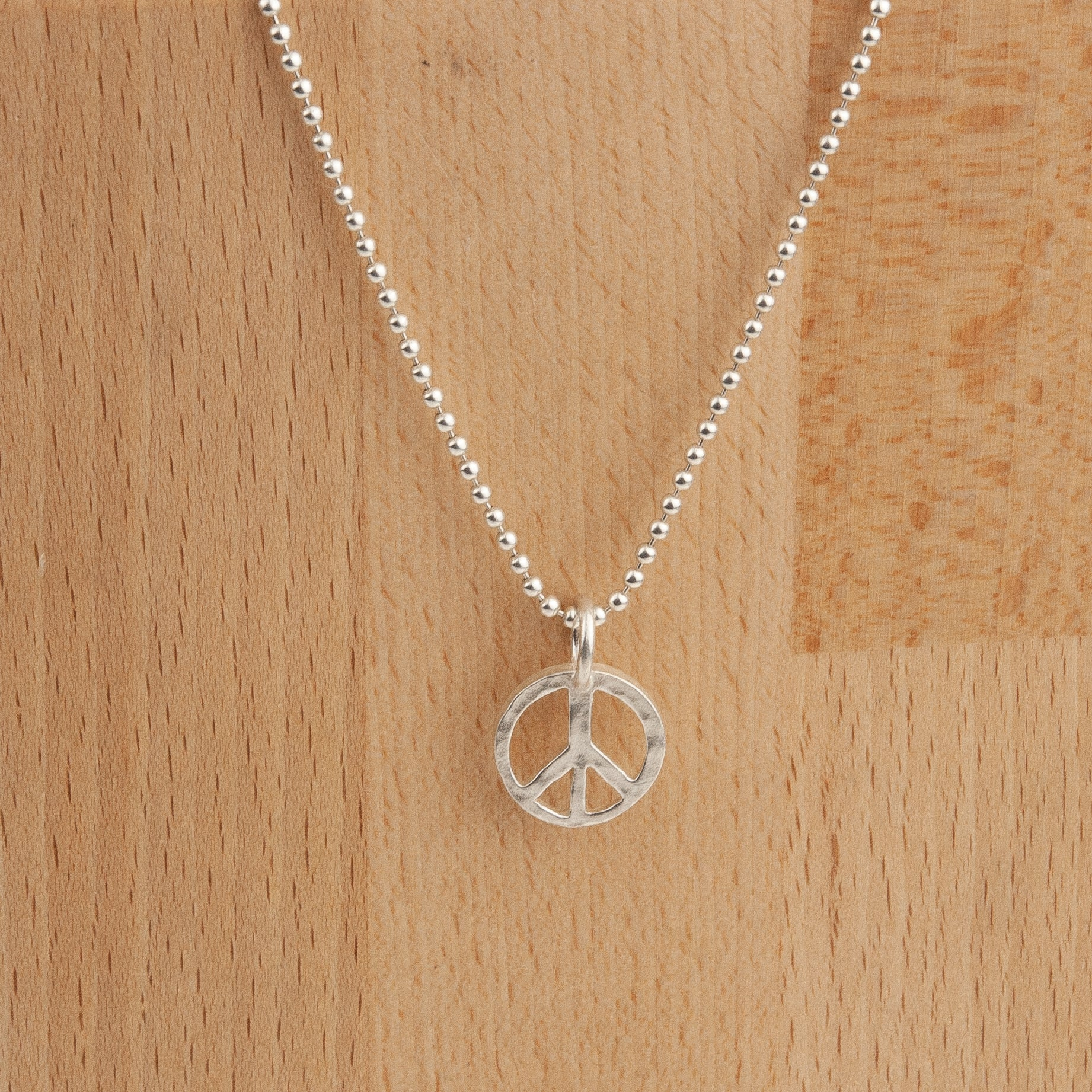 Belle & Bee Sterling Silver Ball Chain Necklace with Chunky Peace Sign Charm