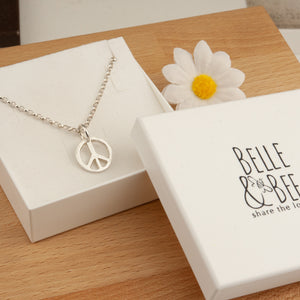 Belle & Bee Sterling Silver Belcher Chain Necklace with Chunky Peace Sign Charm