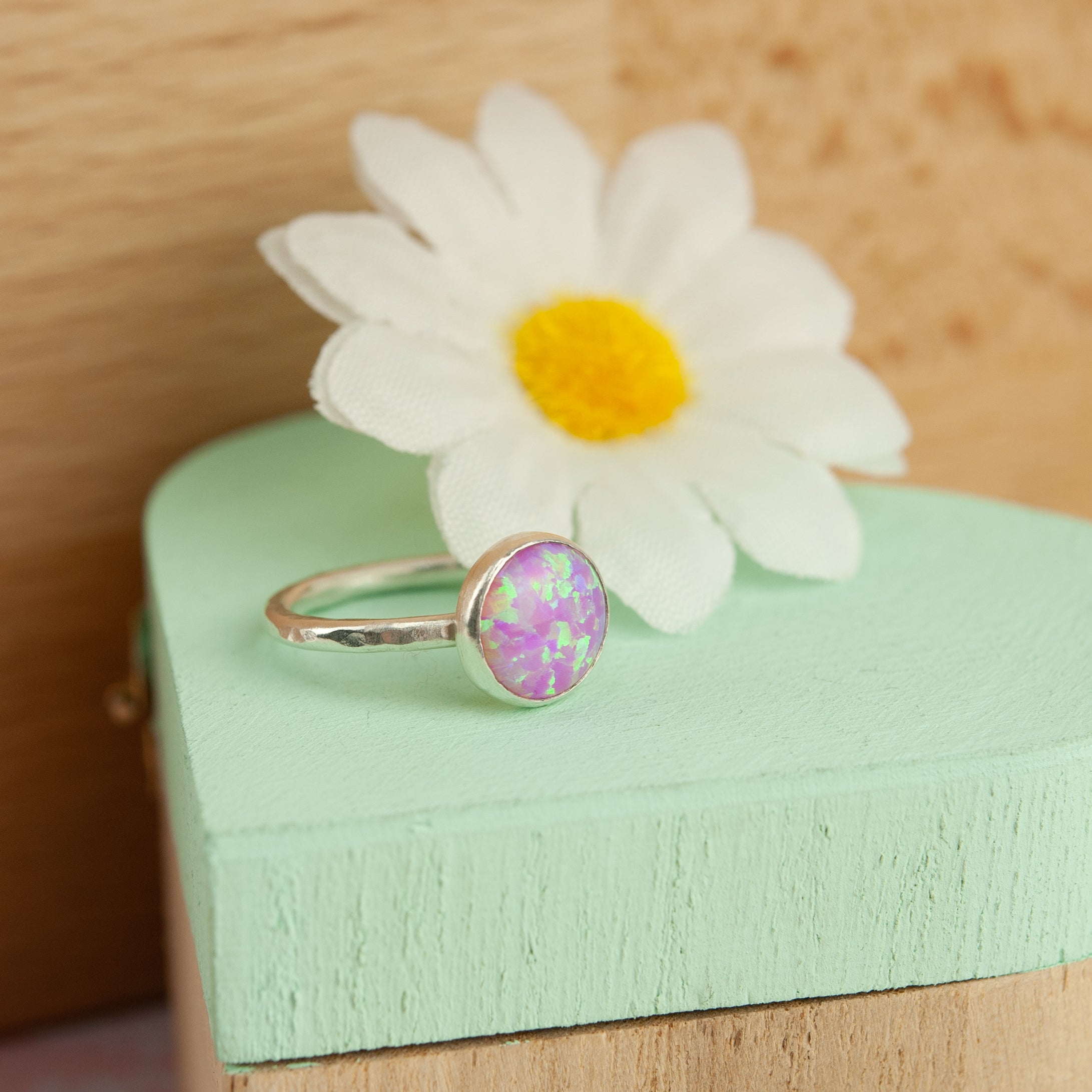 Belle & Bee sterling silver pink opal ring