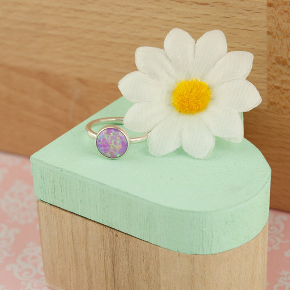 Belle & Bee Sterling Silver Hammered Pink Opal Ring