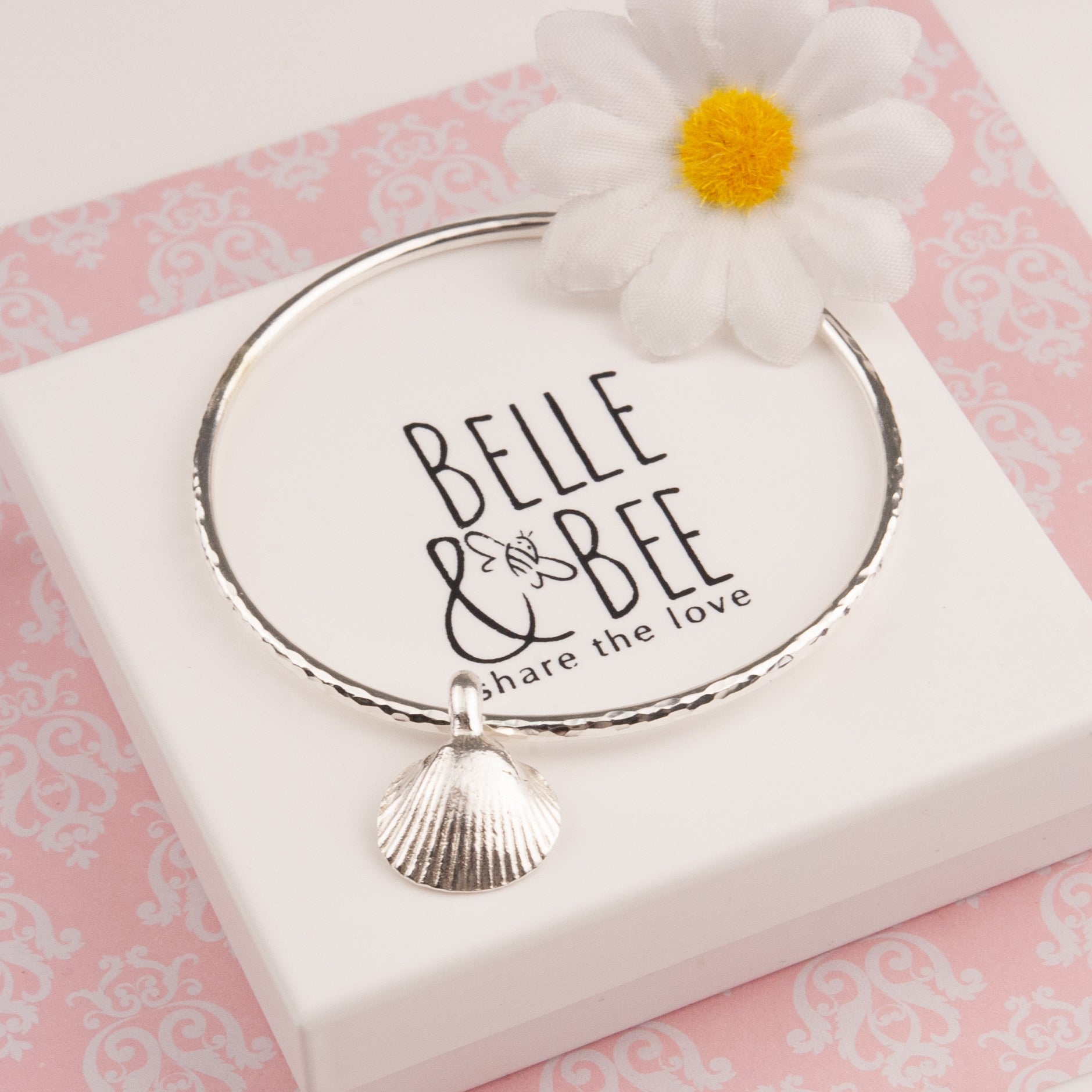 Belle & Bee silver shell bangle