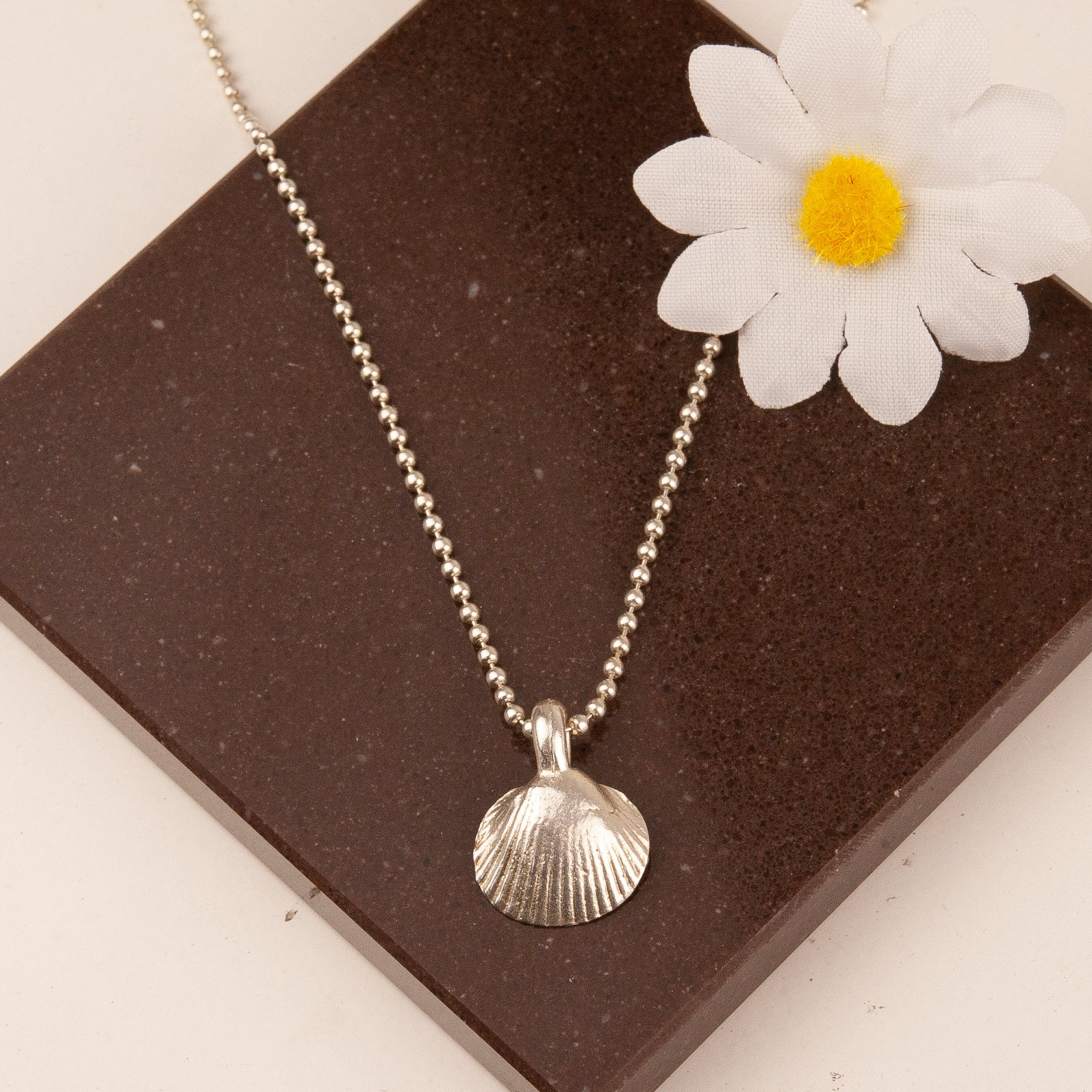 Sterling Silver Ball Chain Necklace with Chunky Shell Charm