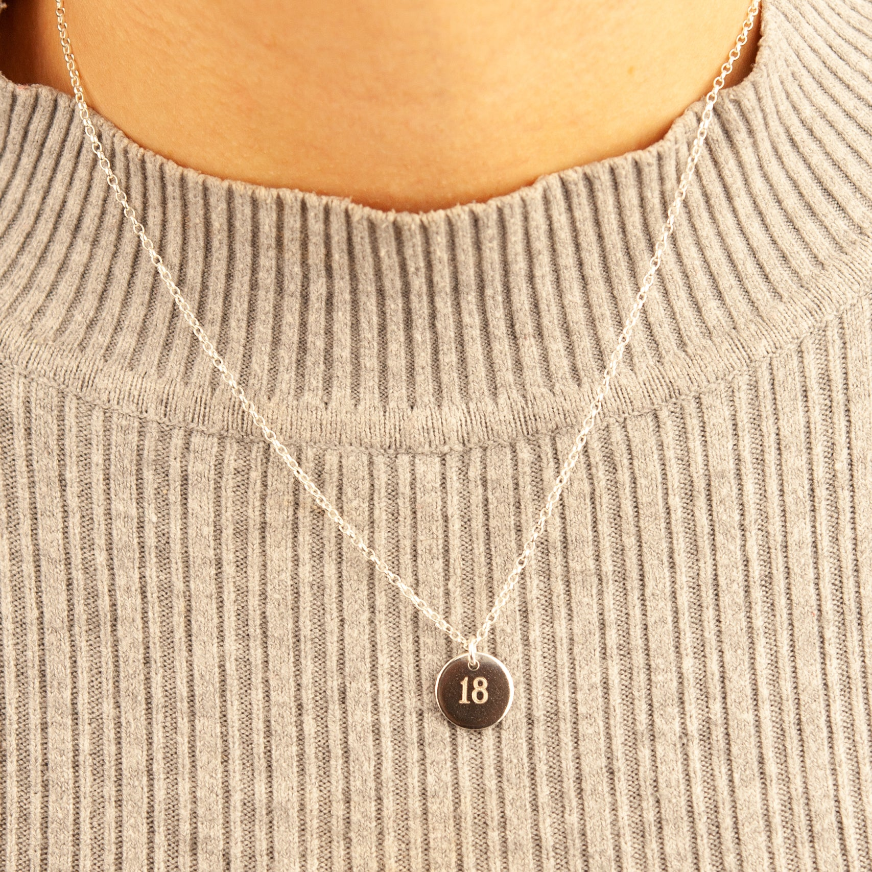 Belle & Bee Sterling silver birthday disc necklace