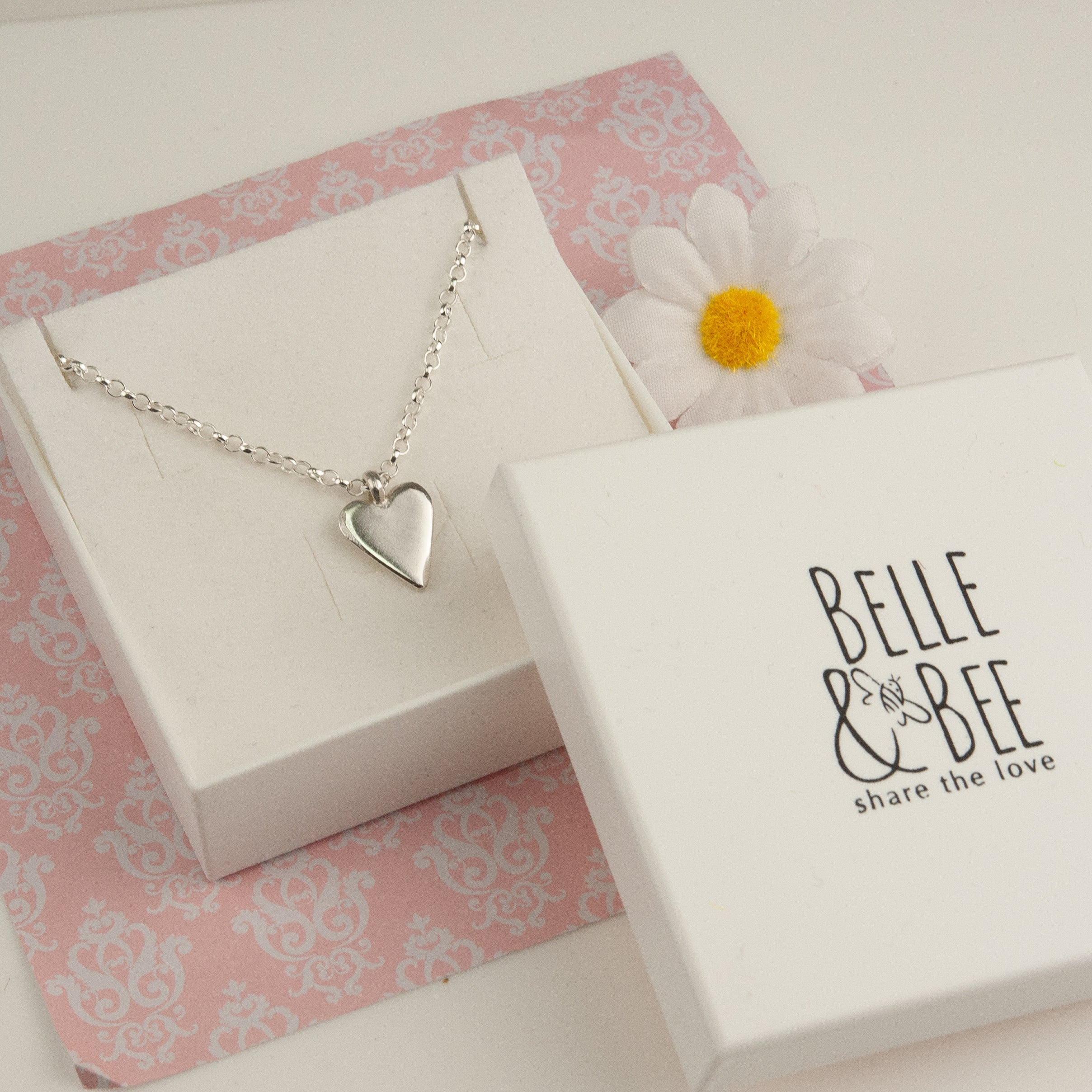 Belle & Bee Sterling silver heart necklace