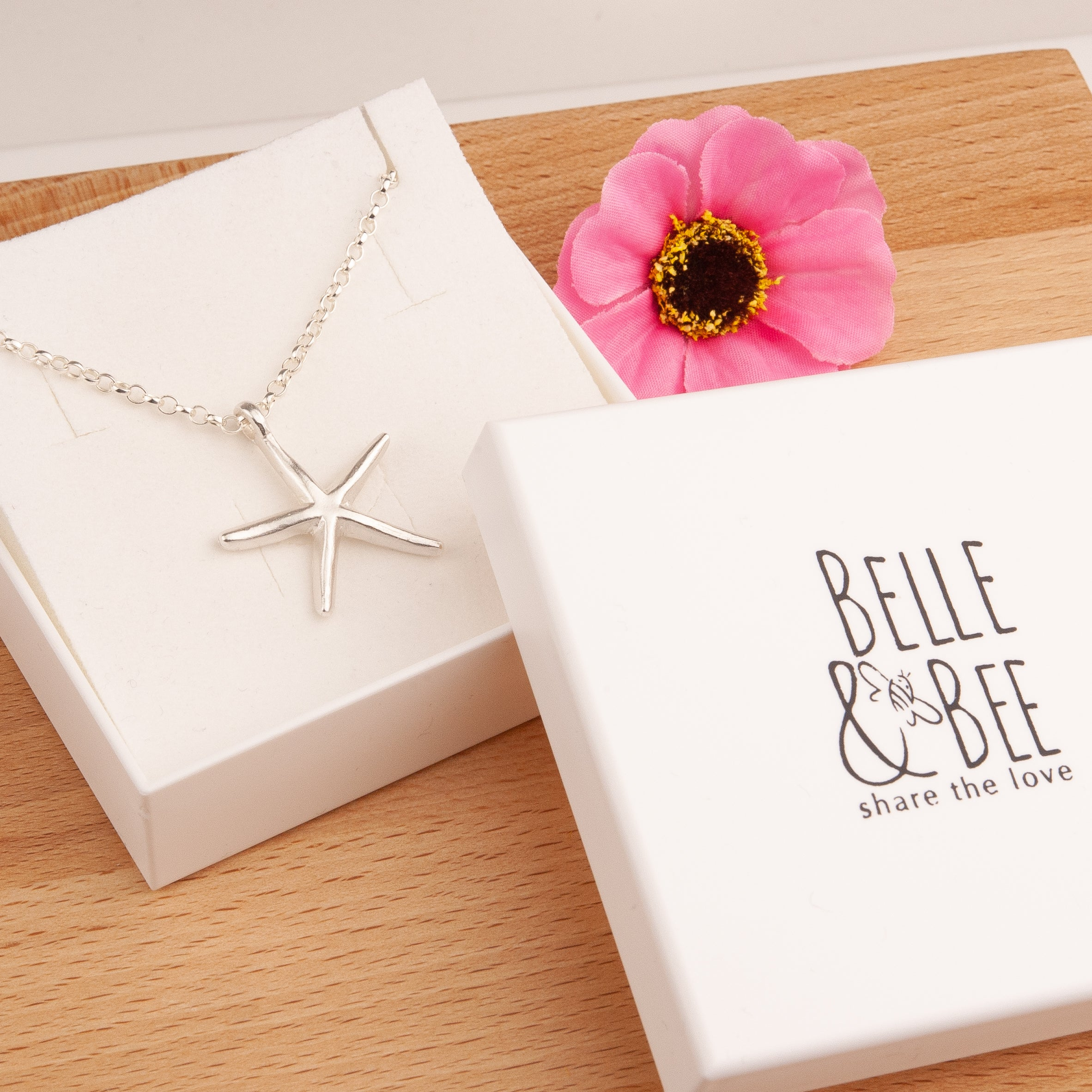 Belle and Bee Sterling Silver Belcher Chain Necklace with Starfish Charm