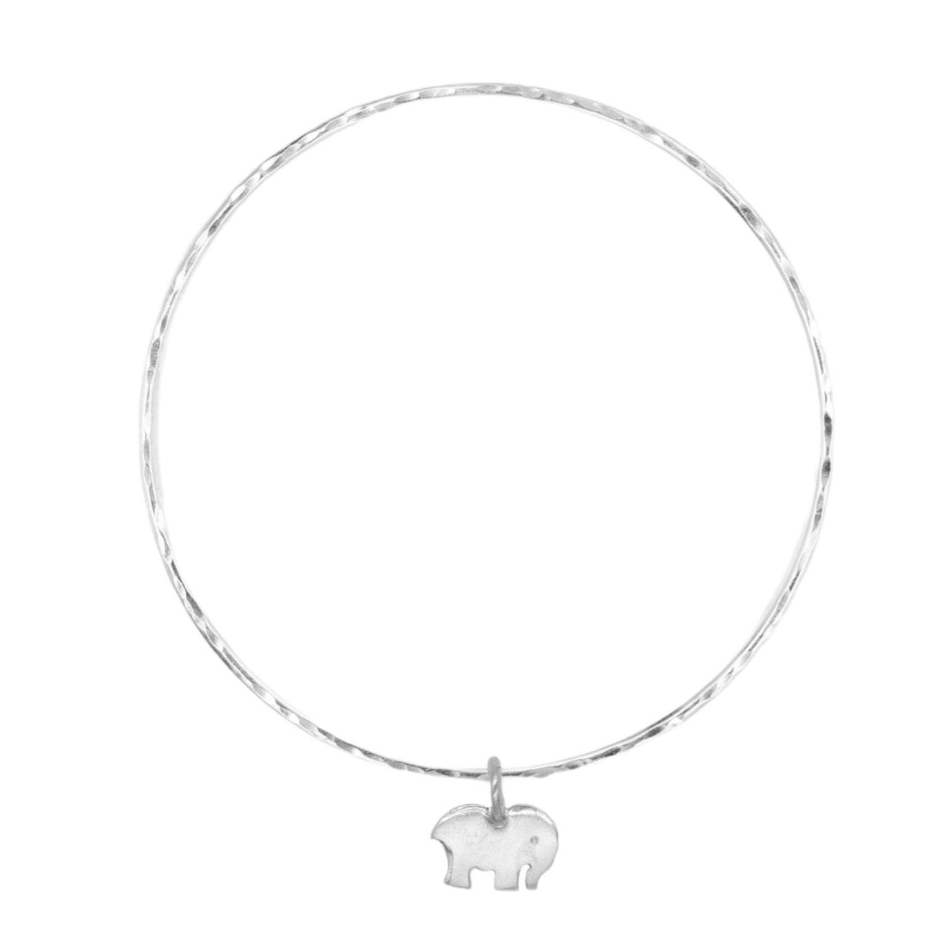 Belle & Bee Sterling Silver 2mm mini Elephant Bangle