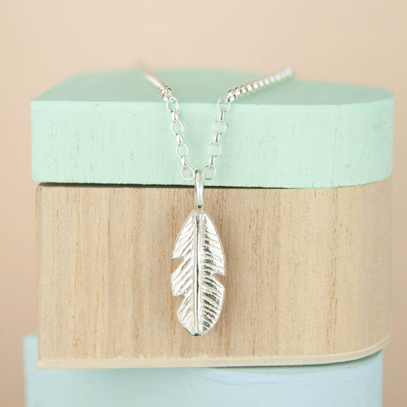 Belle & Bee Sterling Silver feather necklace