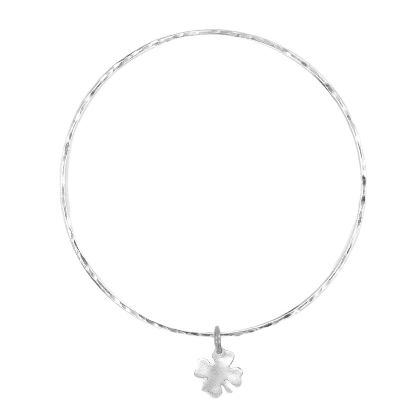 Belle & Bee Sterling Silver 2mm Mini chunky Clover bangle