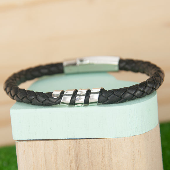 Mens Leather Personalised Tribal Bracelet