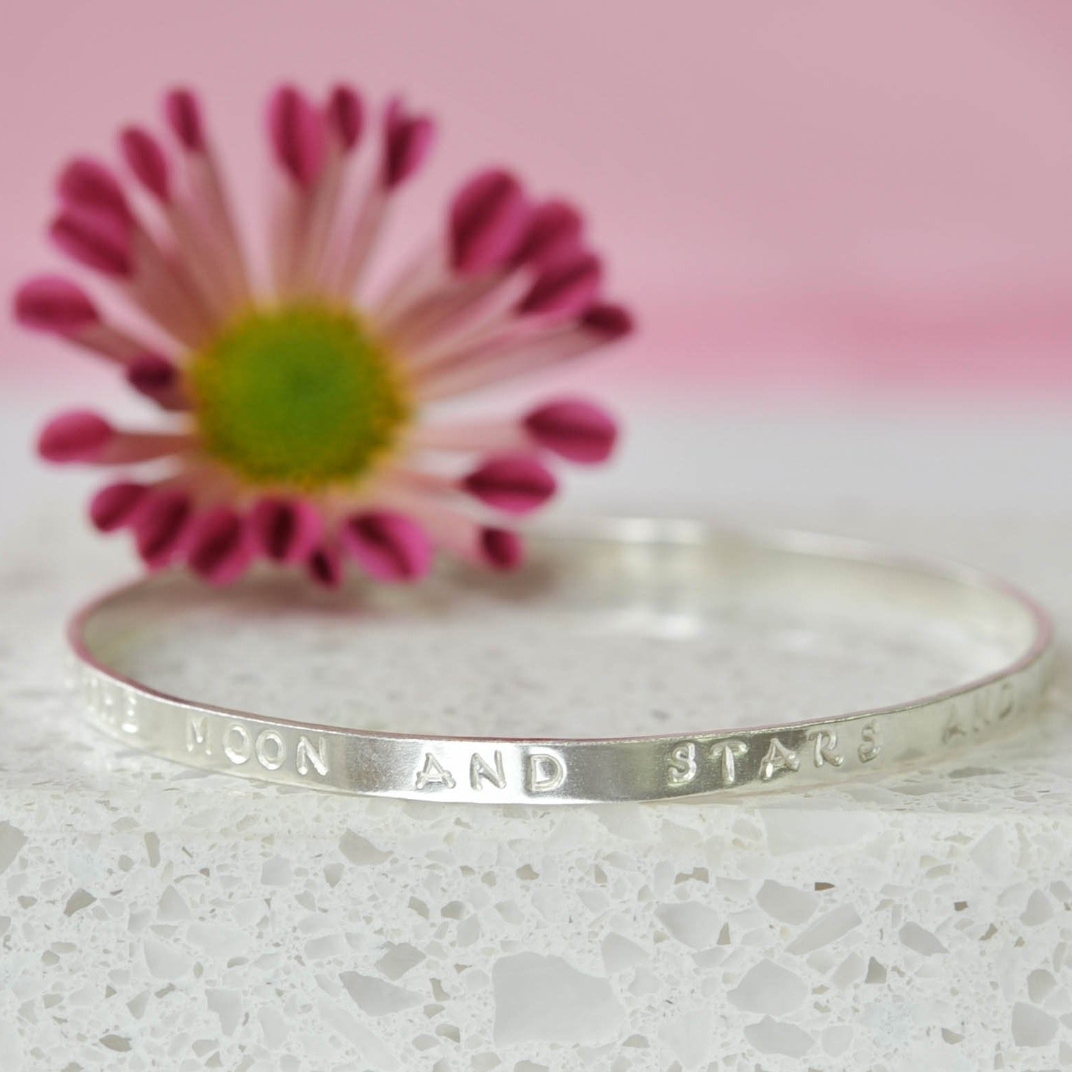 Belle & Bee Personalised Silver Message Bangle