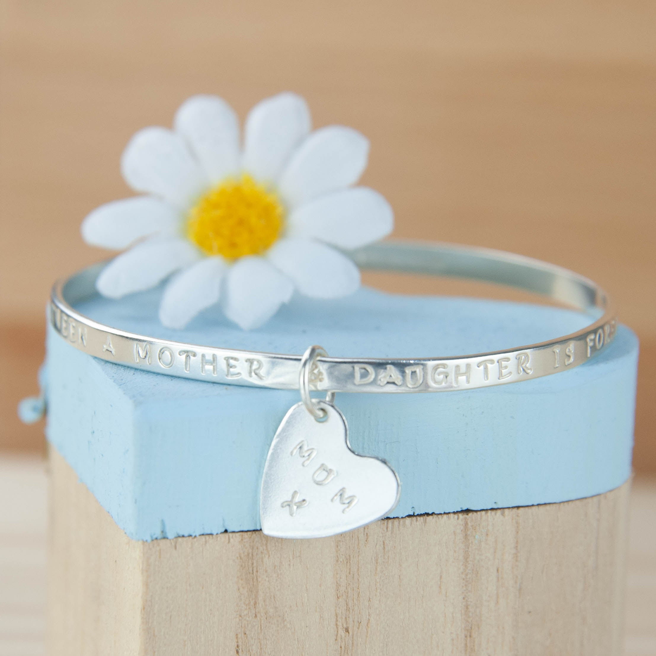 Belle & Bee Sterling Silver message bangle with heart charm