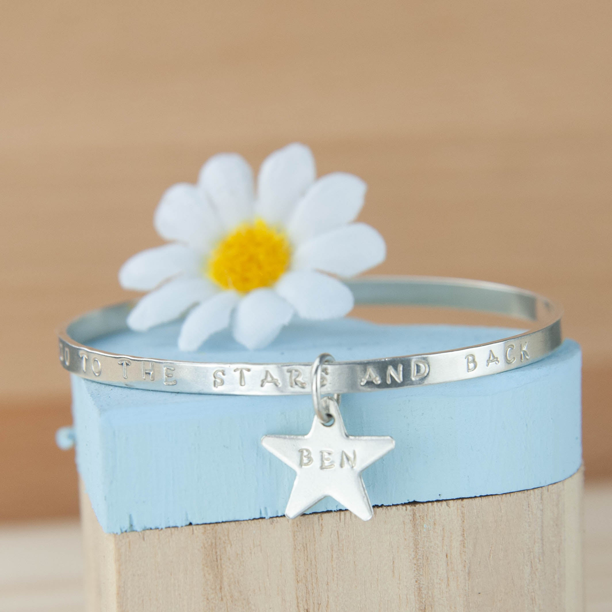 Belle & Bee Sterling silver message bangle with star charm