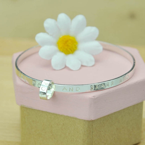 Belle & Bee Sterling Silver Personalised Message Bangle with Love Loop