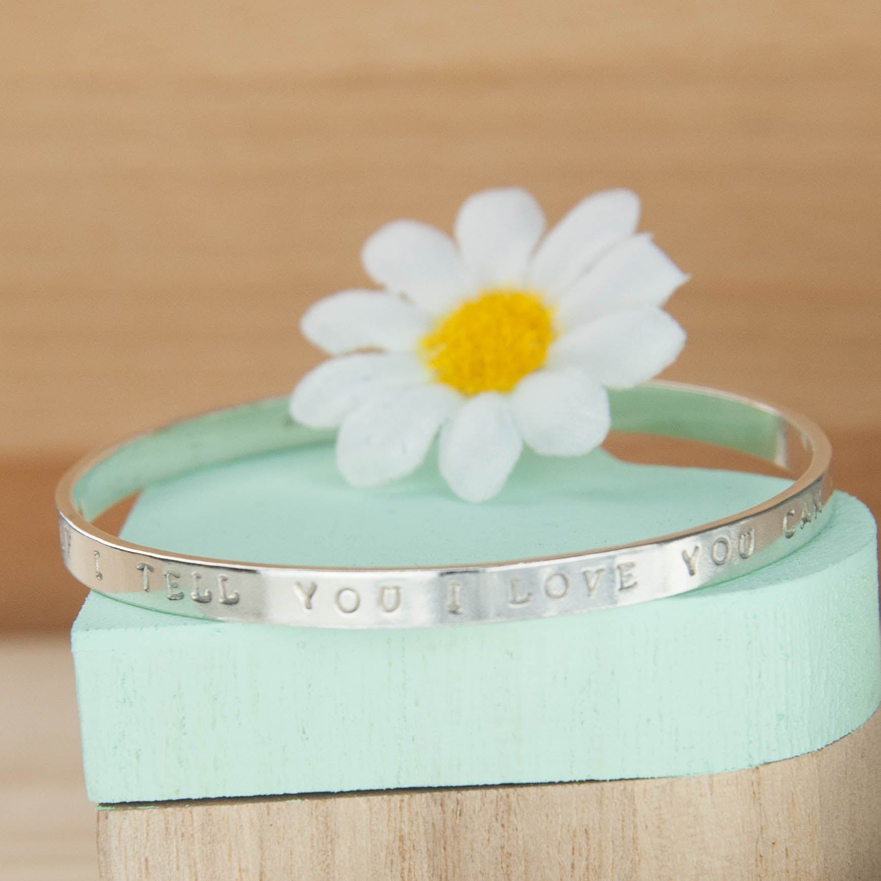 Belle & Bee Midi Personalised Sterling Silver Message Bangle