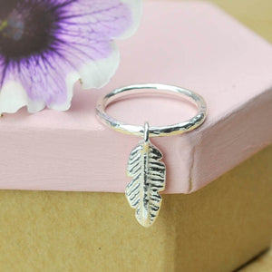 Belle & Bee 2mm Hammered Sterling Silver Stacking Ring with Mini Chunky Feather Charm