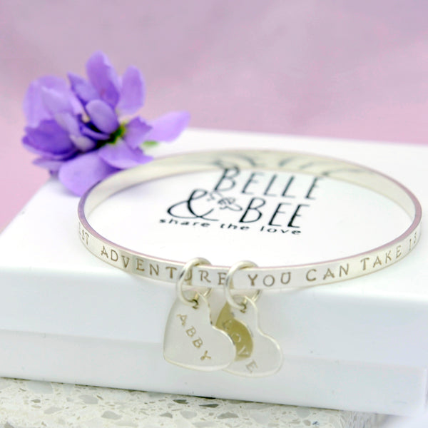 Personalised Standard Message bangle with 2 charms