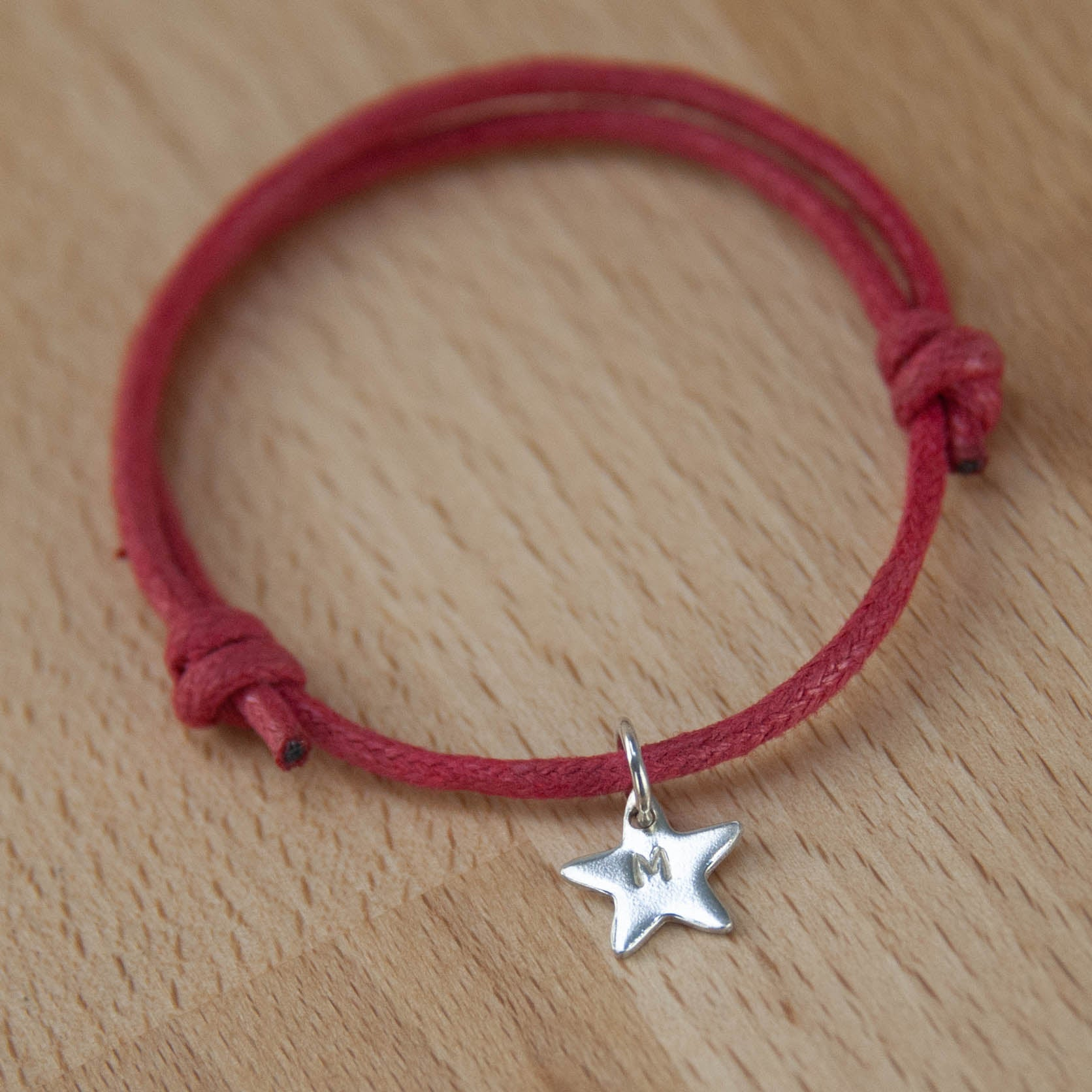 Rope bracelet with Sterling Silver Heart, Star, Disc or Puzzle Piece Charm