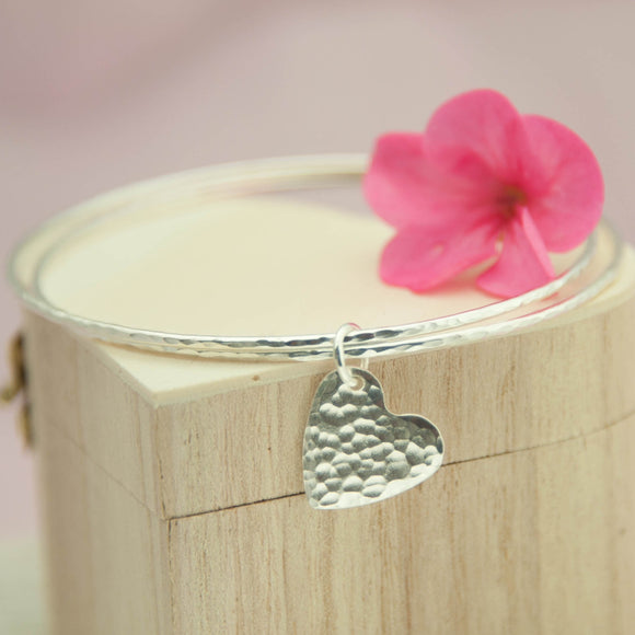 Double Skinny Bangle with Charm