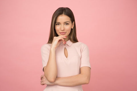 woman pink background