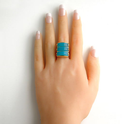 Natal Statement Ring in Blue Agate