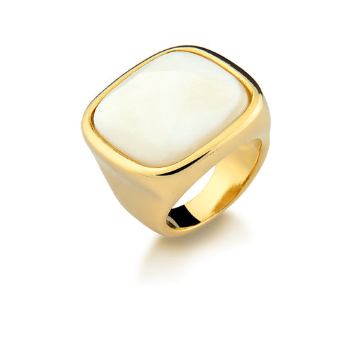 Pianco Bright Gold Mother of Pearl Statement Ring