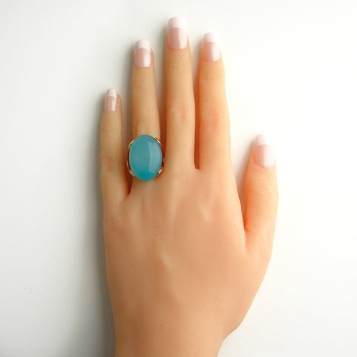 Tabira Gold Statement Ring In Blue Agate