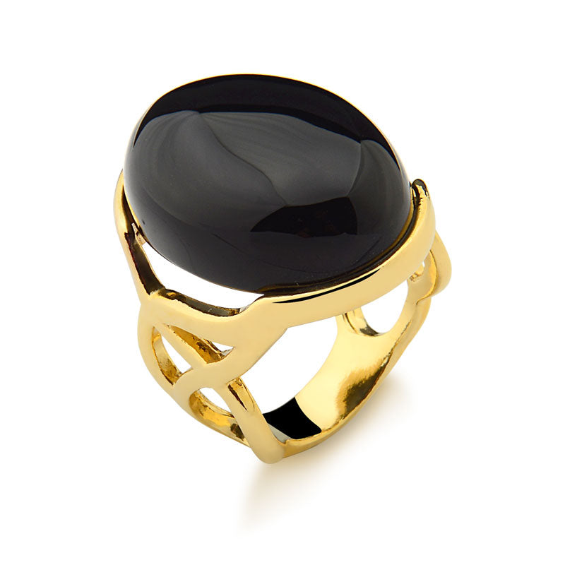 Coroado Oval Ring in Black Agate
