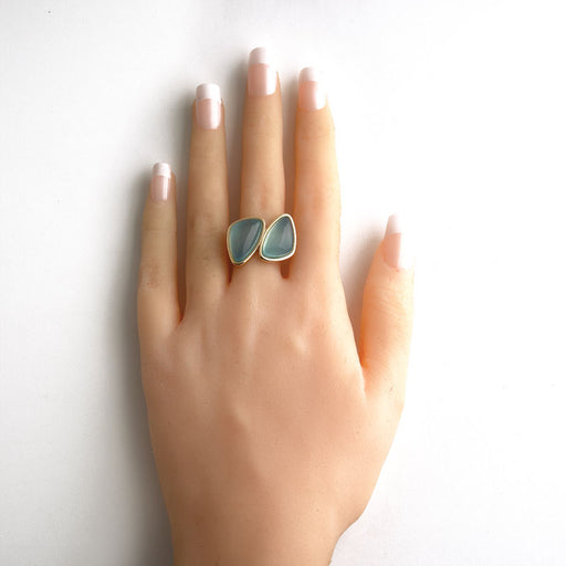 Ravena Statement Ring in Blue Agate