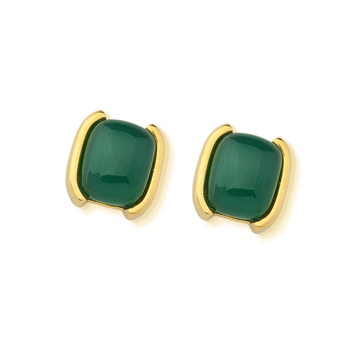 Juaba Gold Stud Earrings in Green Agate