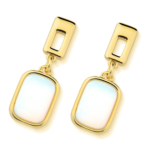 Barcarena Gold Drop Earrings in Opalina