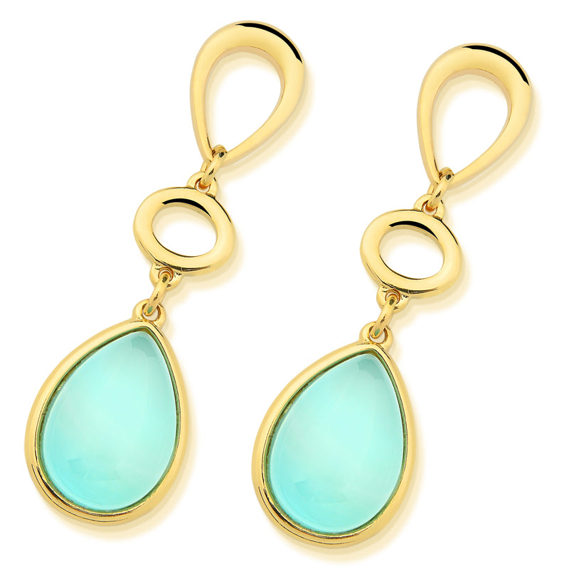 Tibau Gold Statement Earrings in Blue Agate