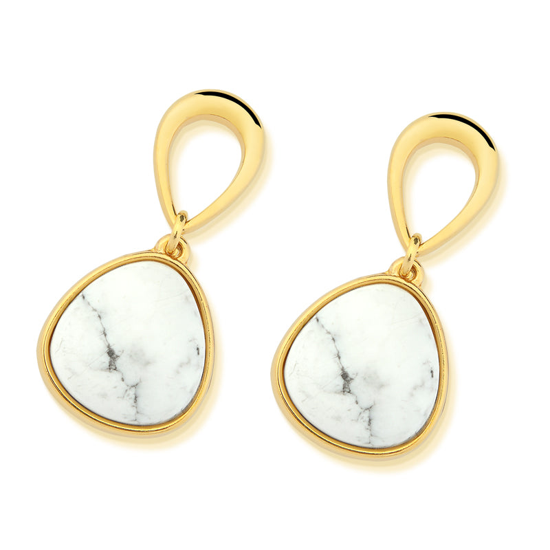 Areia Gold Drop Earrings in White Howlite
