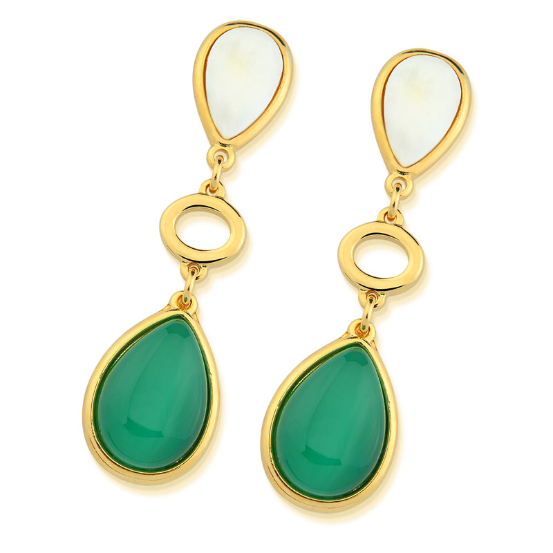 Nazare Gold Statement Earrings in Green Agate and Mother of Pearl
