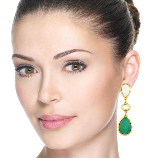 Nazare Statement Earrings in Gold Mother of Pearl and Green Agate