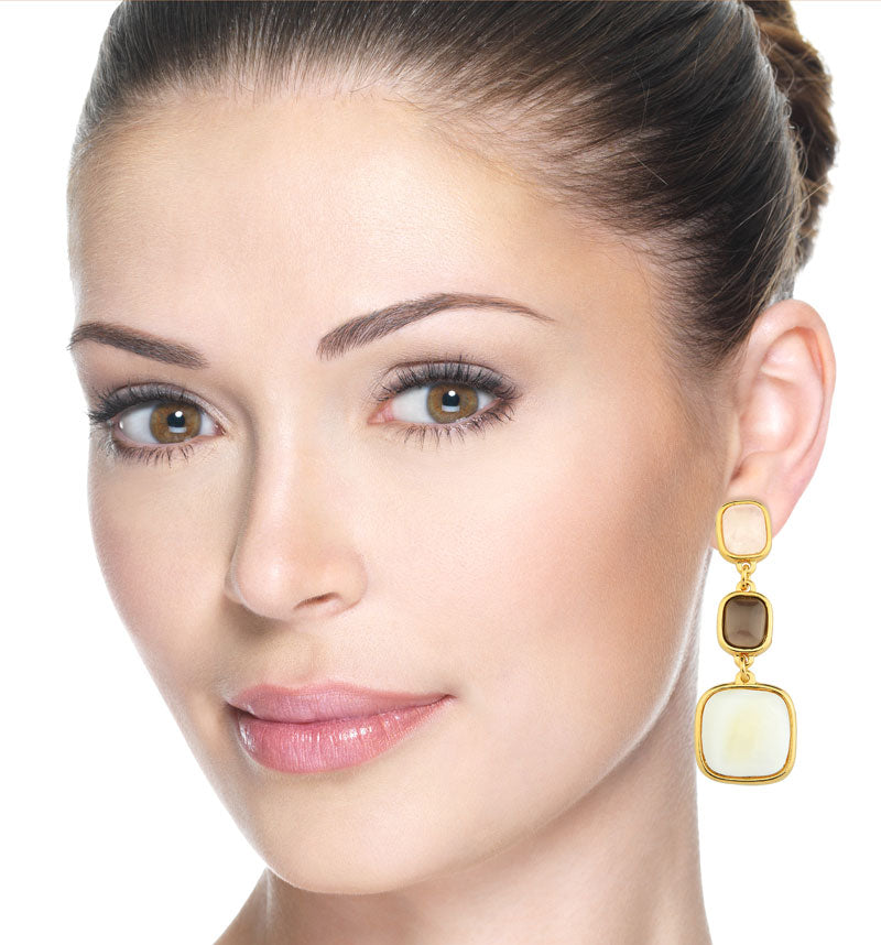 Ananas Gold Statement Earrings in Natura Mix