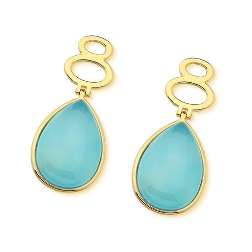 Caico Gold Drop Earrings with Blue Agate